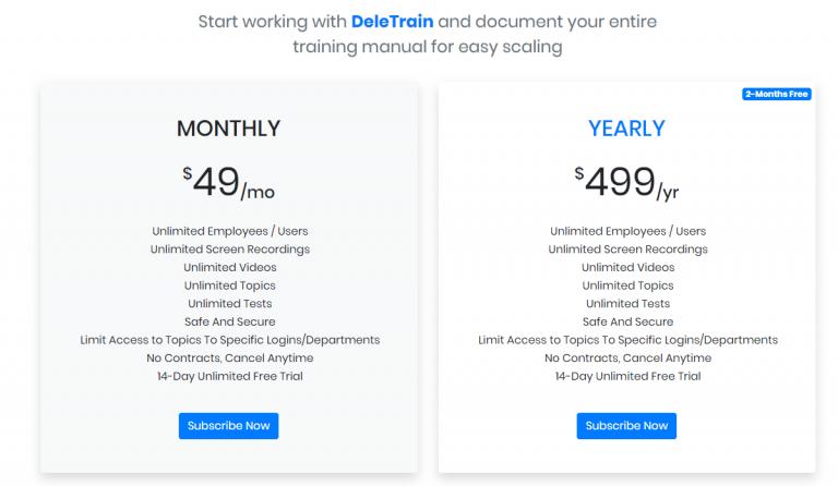 Deletrain pricing